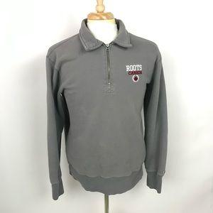 Roots Canada 1/2 Zip Pullover Gray Sweatshirt